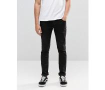 Schwarze enge Jeans mit Stretchanteil Schwarz