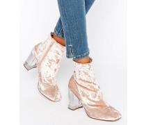 EAGLE Stiefel mit transparentem Absatz und Decksohle aus Samt Rosa