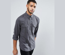 Schmal geschnittenes Flanellhemd mit doppeltkarierter Tasche Grau