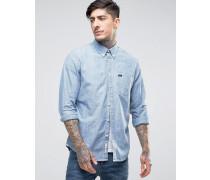 Chambray-Hemd mit durchgehender Knopfleiste in Eisblau Blau