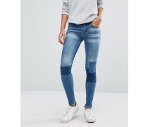 Enge Patchwork-Jeans Blau