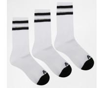 Kurze Socken im 3er-Set Weiß