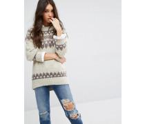 Pullover mit Norwegermuster Mehrfarbig
