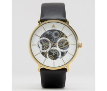 Schwarze Armbanduhr mit sichtbaren Zahnrädern Schwarz