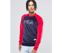 Fila Sweatshirt aus schwarzem Velours Marineblau