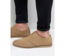 Derby-Schuhe in Stone aus Wildleder mit Paspelierung Steingrau