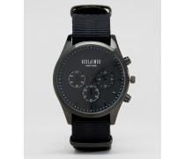 Chronographenuhr mit schwarzem Canvas-Armband Schwarz