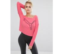 Langärmliges lässiges T-Shirt mit Oversize-Logo Rosa
