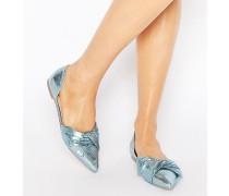 LADY Flache Ballerinas mit spitzer Zehenpartie und Schleife Blau