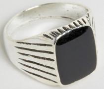 Ring mit eckigem schwarzem Stein Silber