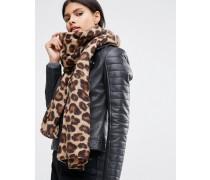 Leichter Schal mit Leopardenmuster in Naturfarbe Braun
