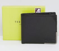 Faltbare Brieftasche mit Eckenverzierung aus Metall Schwarz