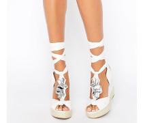 Verzierte Schuhe mit Keilabsatz und Tropenmuster Weiß