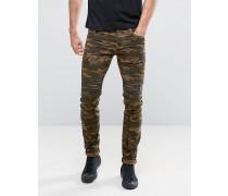 Skinny-Jeans mit Military-Muster und Rissen am Knie Grün