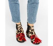 Chelsea-Stiefel mit Leoparden-Print und Quaste Mehrfarbig