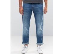 Gerade geschnittene Jeans in Vintage-Waschung Blau