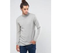 Langer Rollkragenpullover aus grau melierter Baumwolle Grau