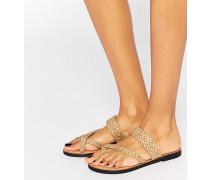 Gewebte, flache Sandale mit Zehensteg Beige
