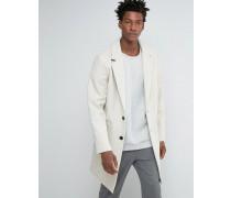 Ecrufarbener Mantel in Cocoon-Passform aus Wollmischung Beige