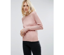 Gerippter Pullover mit Rundhalsausschnitt Rosa