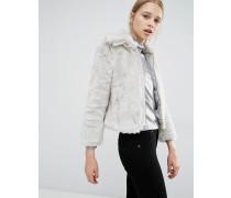 Geschrumpfte Jacke aus Kunstpelz Grau