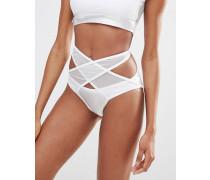 Bikinihose in Wickeloptik aus Netzstoff Mehrfarbig