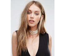 Mehrreihiges Perlen-Halsband Weiß