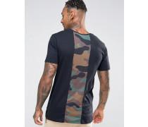 T-Shirt mit Camouflage-Print hinten Schwarz