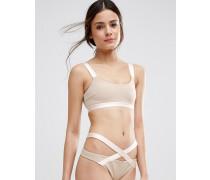 Bikinioberteil mit elastischer Verzierung und Rücken im Riemchendesign Beige
