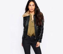 Jacke aus veganem Leder Schwarz