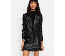 Ultimate Leather Look Biker Jacket with Piped Detail Schwarz