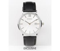 Exklusiv bei ASOS Silberne Armbanduhr mit schwarzem Lederband Schwarz