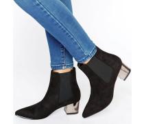 Truffle Stiefel mit spitzer Zehenpartie und mittelhohem Absatz Schwarz