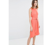 Ärmelloses Kleid mit Gürtel Orange