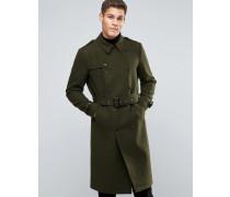 Zweireihiger Mantel aus Wollmischung mit Gürtel in Khaki Grün