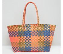 BEACH Bunte, gewebte Einkaufstasche Mehrfarbig