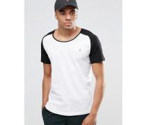 T-Shirt mit U-Ausschnitt, Raglanarm und Strandmotiv, Kombiteil Weiß