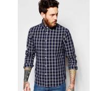 Enges Standard Buttondown-Hemd in kariertem Indigo Blau