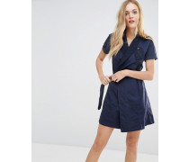 Utility-Kleid in Wickeloptik Blau