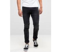 Cirrus Schmale Biker-Jeans in verwaschenem Schwarz Schwarz