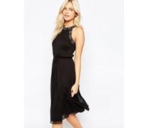 Kleid mit verzierter Bordüre Schwarz