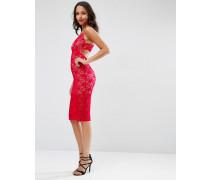 Figurbetontes Kleid aus Spitze mit tiefem Ausschnitt und Bogenkanten Rot