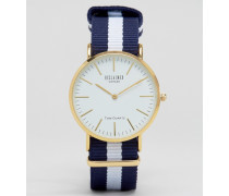 Marineblau gestreifte Armbanduhr mit weißem Zifferblatt Marineblau