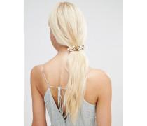 Haarspange mit Blumenperlen Gold