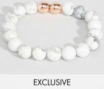 Zweireihiges Armband mit marmorierten Perlen Weiß