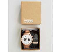 Armbanduhr mit Wechselarmband in Roségold und Schwarz Schwarz