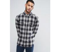 Kariertes Flanellhemd mit zwei Brusttaschen Grau