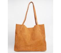 Shopper-Tasche aus Wildleder mit Prägung Bronze