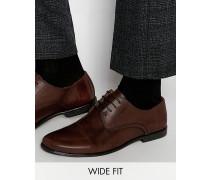 Derby-Schuhe aus braunem Leder, weite Passform Braun