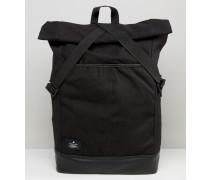Rucksack aus Leinen mit Rollumschlag und Klettverschluss Schwarz